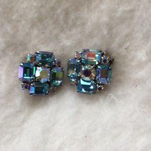 Vintage crystal/glass blue clip on earrings